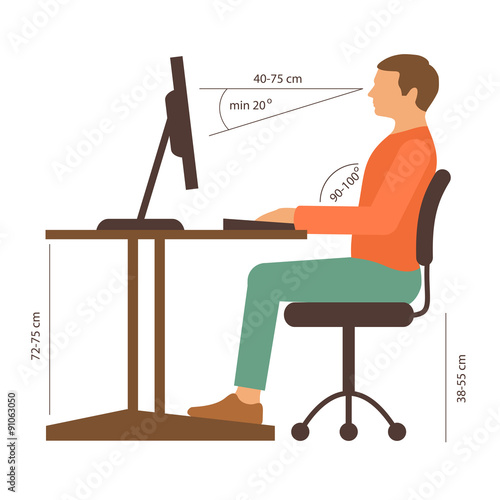 Fotografía  correct back position, vector illustration right  person posture