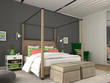 Leinwanddruck Bild - Modern bedroom with colorful decoration