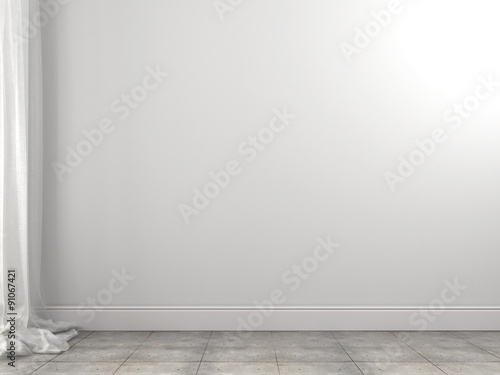 Foto op Plexiglas Wand White background of the wall and curtains