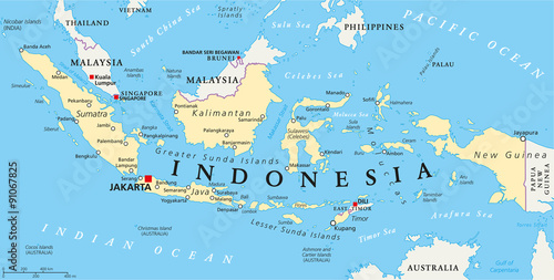 Photo Indonesia political map with capital Jakarta, national borders and important cities