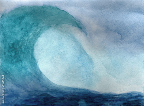 Papiers peints Abstract wave Ocean wave in watercolor