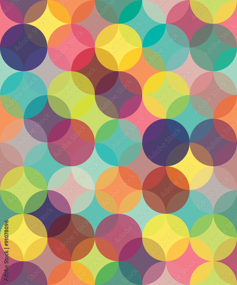 Vector modern seamless colorful geometry pattern circles overlapping , color abstract geometric background,wallpaper print, retro texture, hipster fashion design,