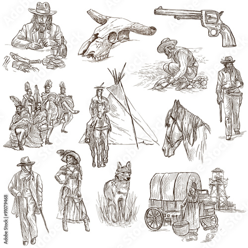 Valokuva  Indians and Wild West - An hand drawn pack.