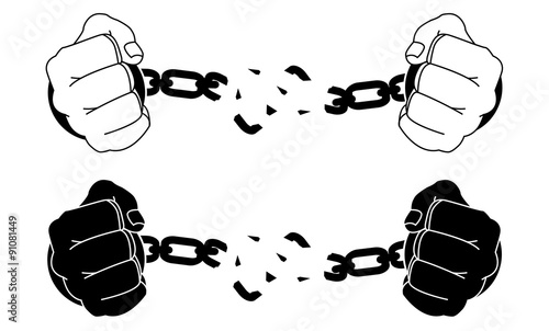 Fotografía  Male hands breaking steel handcuffs. Black and white