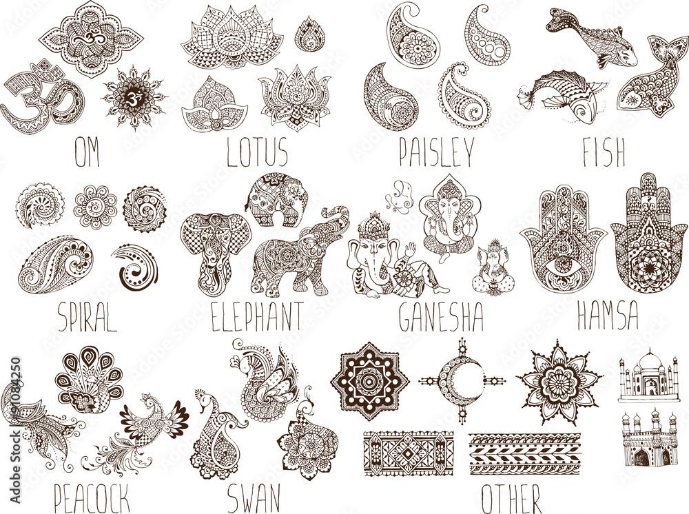 Fototapeta mehndi symbols on a white background