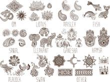 Mehndi Symbols On A White Back...
