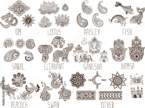 Fototapeta mehndi symbols on a white background obraz