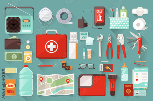 Survival emergency kit for evacuation, vector objects set on white background