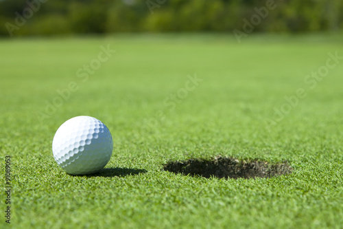 Aluminium Prints Golf Golf Ball by Hole