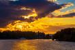 Amazing colorful sunset over river Southern Bug, Khmelnytskyi