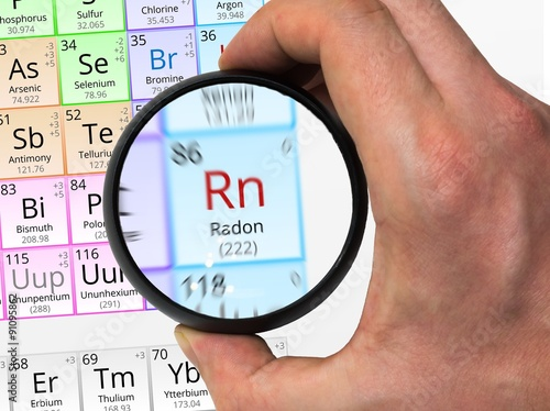 Radon Symbol Rn Element Of The Periodic Table Zoomed With Mag