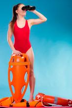 Lifeguard On Duty Looking Thro...