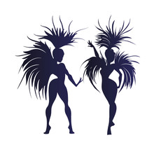Flat Geometric Design Of Dancing Samba Queen