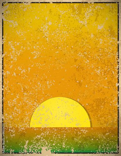 Photo  Sunset vintage, vector illustration
