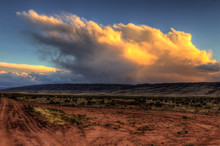 AZ-UT-Vermillion Cliffs Wilderness-S Coyote Buttes.Sunset And Thunderheads Viewed From Remote House Rock Valley Road.