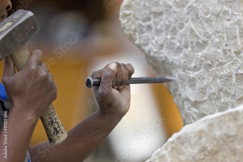 Fotografia Bildhauer und Steinmetz