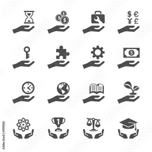 Fotografie, Obraz  business and finance hand icon set 2, vector eps10
