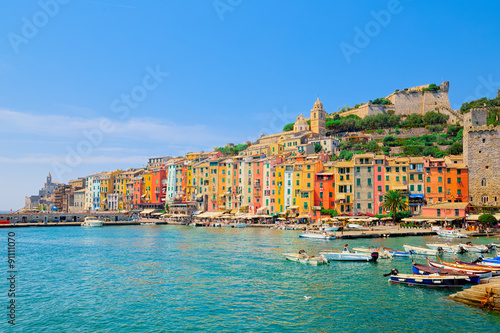 Seen from the sea the town of Porto Venere, with colorful houses Poster Mural XXL