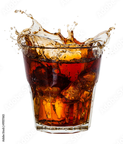 Fotografie, Obraz Cola with splash of ice cubes on white. With clipping path