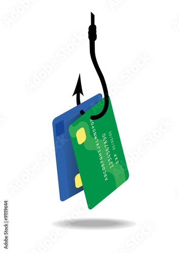 Fotografía  Vector image of a credit or bank card hanging off a fishing hook