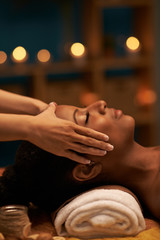 Receiving face massage