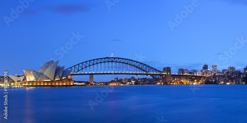 Canvas Prints Sydney Harbour Bridge and Sydney skyline, Australia at dawn