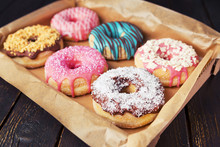 Fresh Homemade Donuts With Var...