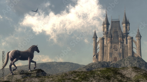 Arriving at the castle - 3D render #91129240