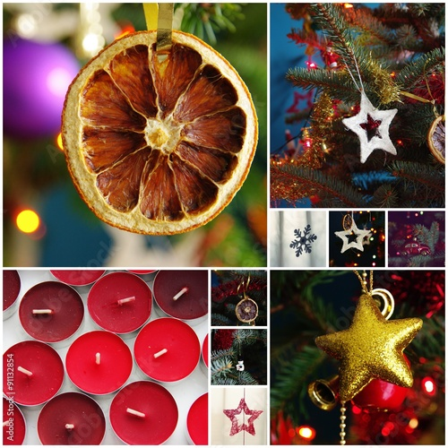 Fotografering  Christmas decorations - photo collage
