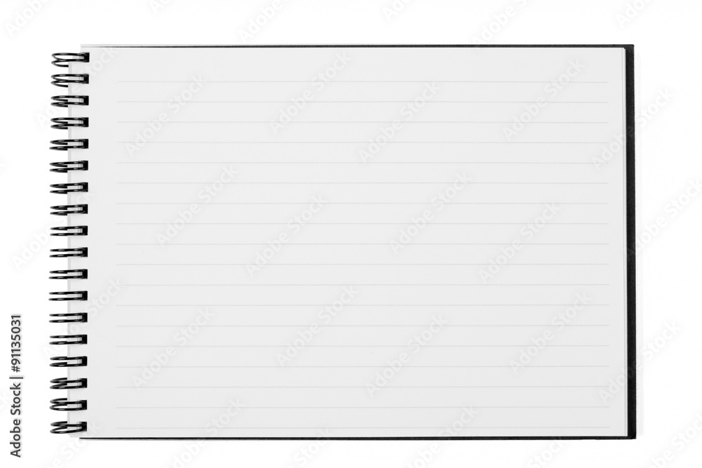 Fototapeta Blank Open Wide Notebook Isolated on White with Clipping Path
