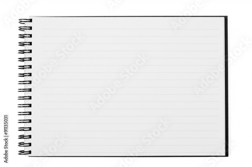 Fotografie, Tablou  Blank Open Wide Notebook Isolated on White with Clipping Path