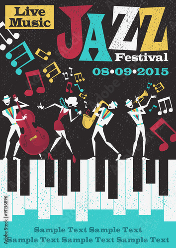 Retro Abstract Jazz Festival Poster Poster