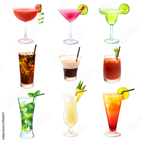 Photo  Cocktail realistic set