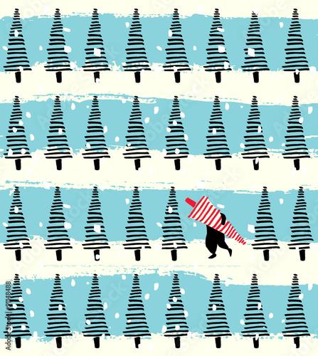 Stoffe zum Nähen Weihnachtsbaum handgezeichneten nahtlose Hintergrund