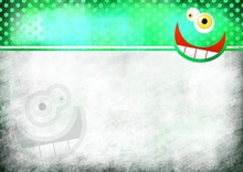 A Digitally Painted Scrappy Note Paper Background Design With A Crazy Cartoon Toothy Face And Green Polka Dots.