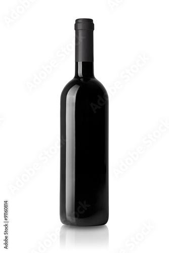 Fotografía  Weinflasche aislado auf weissem de fondo