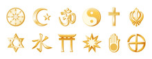 World Religions And Faiths: Top: Buddhism, Islam, Hindu, Taoism, Christianity, Sikh. Bottom: Judaism, Confucianism, Shinto, Baha'i, Jain, Native Spirituality. Gold Icon Symbols.
