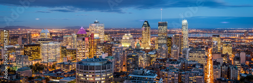 Poster de jardin Canada Montreal panorama at dusk as viewed from the Mount Royal