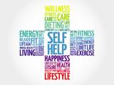 Self Help word cloud, health cross concept