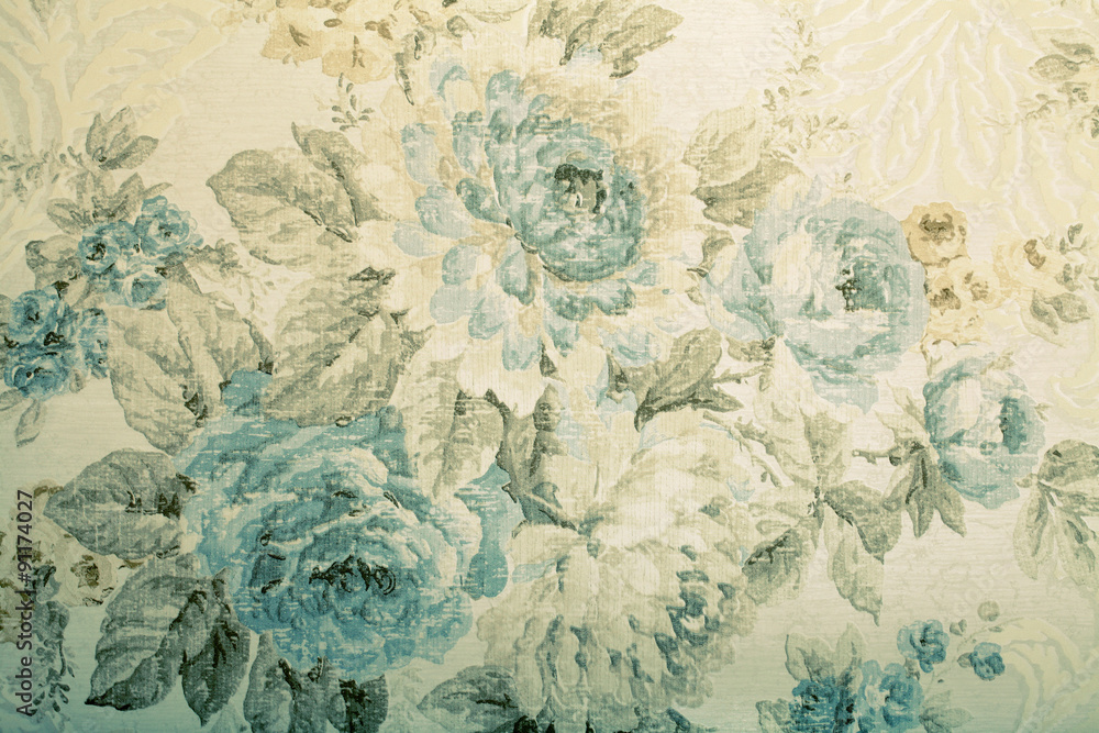 Fototapeta Vintage wallpaper with blue floral victorian pattern