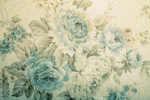 Deurstickers Retro Vintage wallpaper with blue floral victorian pattern