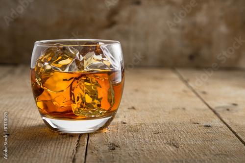 Garden Poster Alcohol Modern glass of scotch whisky old vintage wooden barrel background lifestyle pub fine art craft bourbon