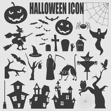 Halloween Icon Set. Holiday Design