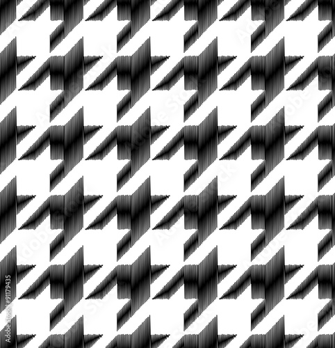 Photo  seamless black and white houndstooth checkered pattern
