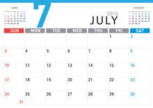 Planning Calendar Simple Template July 2016