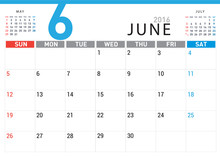 Planning Calendar Simple Template June 2016