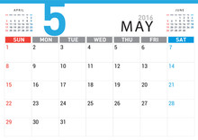 Planning Calendar Simple Template May 2016
