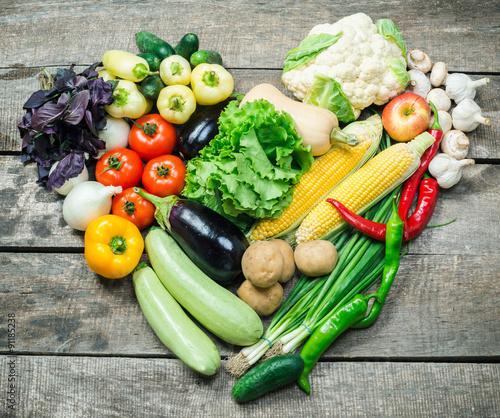 Fotobehang Harvest, fresh organic vegetables