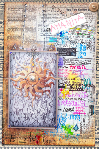 Staande foto Imagination Scrapbook background with ethnic golden sun.