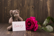 Teddy Bear With A Beautiful Pink Rose. Apology Concept. Vintage Style, Selective Focus